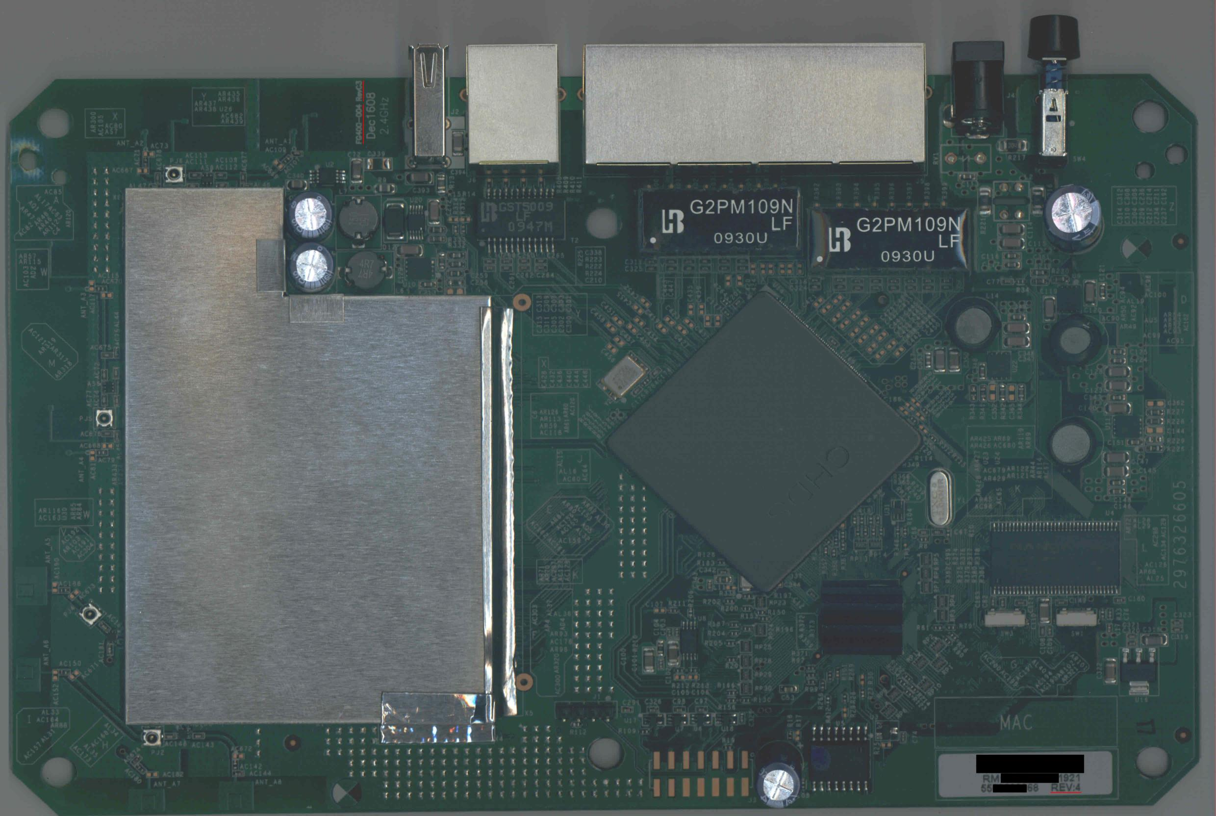 Netgear WNDR3700 PCB top side