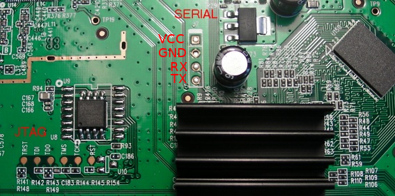 **PCB with markings for serial port**